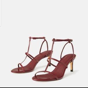 NWT Zara strappy sandals burgundy